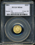 Gold Dollars: , 1881 G$1 MS66 PCGS. Frosty golden luster uniformly ...
