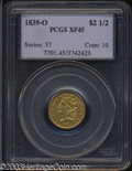 Classic Quarter Eagles: , 1839-O $2 1/2 XF45 PCGS. Low Date, Close Fraction, Breen-...
