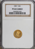 Proof Gold Dollars: , 1857 G$1 PR64 Cameo NGC. NGC Census: (2/3). (#87607)...