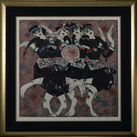 JIANG TIE FENG (Chinese, b. 1938) Women Dancing Color serigraph 83/260 Signed to lower right Matted, framed and under gl...