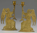 Miscellaneous: , PAIR OF CANDLESTICKS. Pair of modern brass angel candlesticks. Each10in. high x 5-1/4in. wide. ... (Total: 2 )