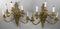 Miscellaneous:Lamps & Lighting, PAIR OF WALL SCONCES. Pair of Rococo style five-light wall sconces, with faux candles. Circa 1950s. Each approximately 22i... (Total: 2 )