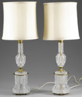 Miscellaneous:Lamps & Lighting, PAIR OF FRENCH CUT GLASS LAMPS. Pair of French (possibly Baccarat) empire style cut glass lamps with shades. Each marked t... (Total: 2 )
