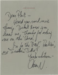 Autographs:Letters, Jack Nicholson Signed Letter from the Phi Rizzuto Collection. Threetime Academy award winning actor, Jack Nicholson sent t...