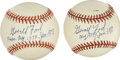 Autographs:Baseballs, Gerald Ford Single Signed Baseballs Lot of 2. We offer twobaseballs, one an ONL (Coleman), and the other a Rawlings Offici...