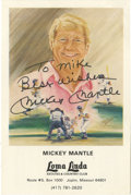 Autographs:Photos, Mickey Mantle Signed Stat Card. Printed for and distributed by theLoma Linda Country Club, the Mickey Mantle Stat card fea...