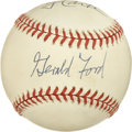 Autographs:Baseballs, Presidents Ford and Carter Multi-Signed Baseball. The OAL (Budig)baseball holds the autographs of former Presidents of th...