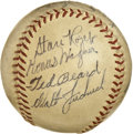 Autographs:Baseballs, Honus Wagner and Ralph Kiner Multi-Signed Baseball . The ONL (Frick) baseball has the honor of holding the autograph of som...