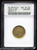Three Dollar Gold Pieces: , 1854-D $3 --Graffiti--ANACS. XF Details, Net VF30. Variety ...