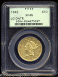 Liberty Eagles: , 1842 $10 Large Date XF45 PCGS. Both sides are a bright ...