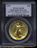High Relief Double Eagles: , 1907 $20 High Relief, Wire Rim AU58 PCGS. An appealing, ...