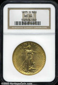 Saint-Gaudens Double Eagles: , 1915-S $20 MS64 NGC. A fair number of light abrasions on ...