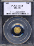 California Fractional Gold: , 1855 50C Liberty Round 50 Cents, BG-405, R.5, MS62 PCGS. ...
