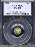 California Fractional Gold: , 1856 50C Liberty Round 50 Cents, BG-434, Low R.4, MS63 PCGS....