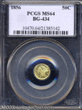 California Fractional Gold: , 1856 50C Liberty Round 50 Cents, BG-434, Low R.4, MS64 PCGS....