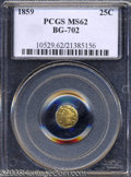 California Fractional Gold: , 1859 25C Liberty Octagonal 25 Cents, BG-702, R.3, MS62 PCGS....