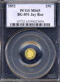 California Fractional Gold: , 1852 25C Indian Round 25 Cents, BG-891, Low R.5, MS65 PCGS.