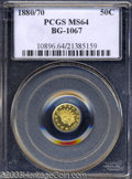 California Fractional Gold: , 1880/70 50C Indian Round 50 Cents, BG-1067, Low R.4, MS64 ...