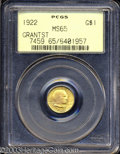 Commemorative Gold: , 1922 G$1 Grant with Star MS65 PCGS. Sharply defined ...