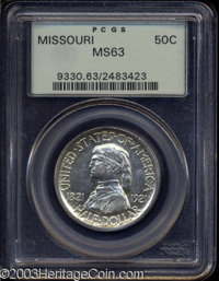 1921 50C Missouri MS63 PCGS. A flashy and bright representative with just a bit of color at the edges. From the James L...