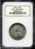 1921 50C Missouri 2x4 MS64 NGC. A toned representative with tan centers and copper-golden edges. Nicely-struck and free...