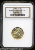 Modern Issues: , 1987-W G$5 Constitution Gold Five Dollar MS70 NGC. An ...