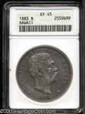 Coins of Hawaii: , 1883 $1 Hawaii Dollar XF45 ANACS. This lavender-gray ...
