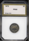 Additional Certified Coins: , 1872 5C Shield Nickel PR66 PCI (PR64). A few wispy ...