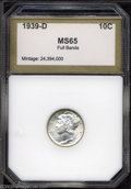 Additional Certified Coins: , 1939-D 10C Dime MS65 Full Bands PCI (MS65). Light olive-...