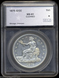 Additional Certified Coins: , 1875-S/CC T$1 Trade Dollar MS61 Cleaned SEGS (MS60 Cleaned, ...