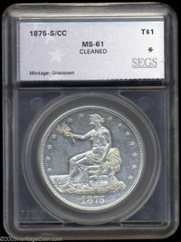 1875-S/CC T$1 Trade Dollar MS61 Cleaned SEGS (MS60 Cleaned, Scratched). FS-12.5. This subdued and hairlined piece has a...