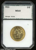 Additional Certified Coins: , 1903 $10 Eagle MS60 PCI (AU58). Lustrous for the assigned ...