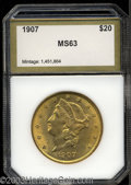 Additional Certified Coins: , 1907 $20 Double Eagle MS63 PCI (MS61). This lustrous and ...
