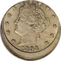 Errors, 1898 5C Liberty Nickel--Struck 15% Off-Center--MS64 PCGS....