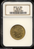 Indian Eagles: , 1913-S MS60 NGC. ...