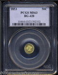 California Fractional Gold: , 1853 Liberty Round 50 Cents, BG-428, R.3, MS63 PCGS. ...