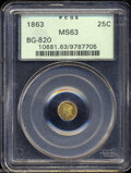 California Fractional Gold: , 1863 Liberty Round 25 Cents, BG-820, R.5, MS63 PCGS. ...