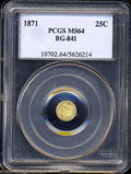 California Fractional Gold: , 1871 Liberty Round 25 Cents, BG-841, R.4, MS64 PCGS. ...