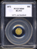 California Fractional Gold: , 1872 Liberty Octagonal 50 Cents, BG-913, R.4, MS64 PCGS. ...
