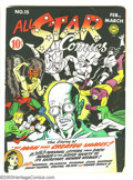 Golden Age (1938-1955):Superhero, All Star Comics #15 Justice Society of America (DC, 1943) Condition: GD/VG. Origin and first appearance of Brain Wave. Sandm...