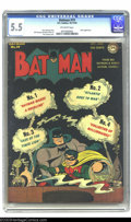 Golden Age (1938-1955):Superhero, Batman #19 (DC, 1943) CGC FN- 5.5 Off-white pages. Joker appearance. Dick Sprang cover and art. Overstreet 2003 FN 6.0 value...
