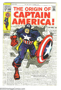 Captain America #109 (Marvel, 1969) Condition: VF+. Origin of Captain America is retold. Art by Jack Kirby and Syd Shore...