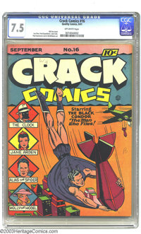 Crack Comics #16 (Quality, 1941) CGC VF- 7.5 Off-white pages. The Black Condor, the Clock, Alias the Spider, Jane Arden...