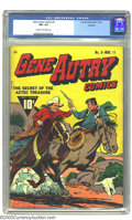 Golden Age (1938-1955):Western, Gene Autry Comics #3 Rockford pedigree (Fawcett, 1942) CGC FN+ 6.5 Cream to off-white pages. Hard to find Western with a pho...