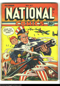 National Comics #27 (Quality, 1942) Condition: VG+. Uncle Sam cover. G-2 begins. Interior art by Gill Fox and Fred Guard...