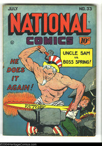 National Comics #33 (Quality, 1943) Condition: FN. Uncle Sam cover. Chic Carter begins. Interior art by Gill Fox, Fred G...