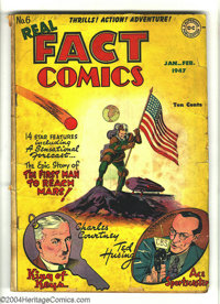 Real Fact Comics #6 (DC, 1947) Condition: PR. Flag cover. First appearance of Tommy Tomorrow. First published writing by...