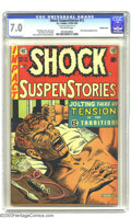 "Golden Age (1938-1955):Horror, Shock SuspenStories #12 Double Cover (EC, 1953) CGC FN/VF 7.0Off-white pages. ""The Monkey"" classic Junkie cover story. Anti..."