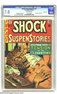 """Shock SuspenStories #12 Double Cover (EC, 1953) CGC FN/VF 7.0 Off-white pages. """"The Monkey"""" classic Junkie cov..."""