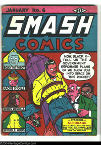 Smash Comics #6 (Quality, 1940) Condition: GD/VG. Serious spine splits. Overstreet 2003 GD 2.0 value = $55; VG 4.0 value...